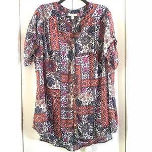Dressbarn  Short Sleeve Sheer Blouse Size 2x -W